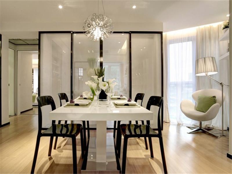 简洁明亮黑白简约风格餐厅装饰效果图