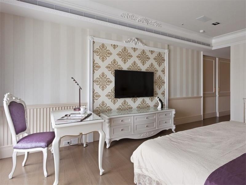 复古低奢欧式卧室小书桌布局效果图_装修百科