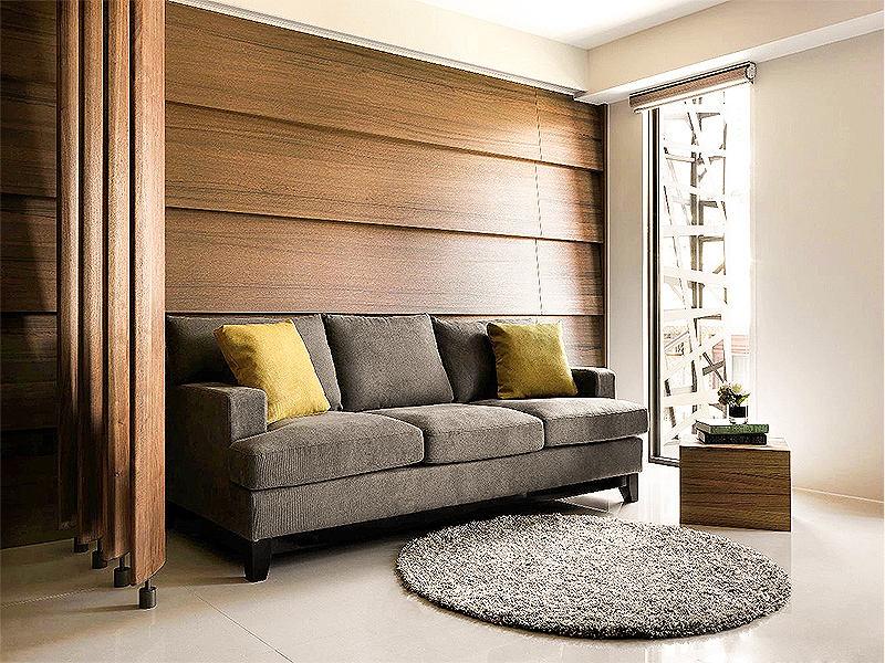 宜家風客廳沙發木質背景墻隔斷