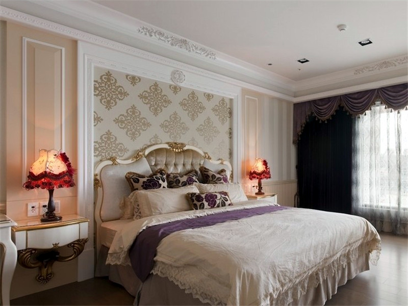 复古低奢欧式卧室床头柜设计效果图_装修百科