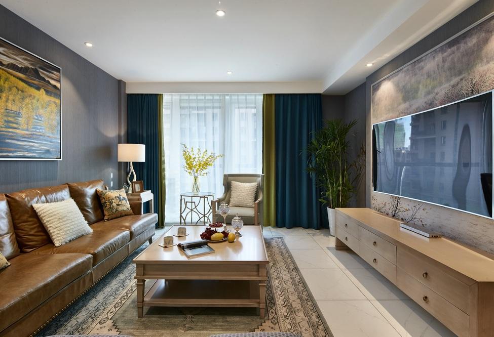 美式后现代三居室客厅整体设计效果图片_装修百科图片
