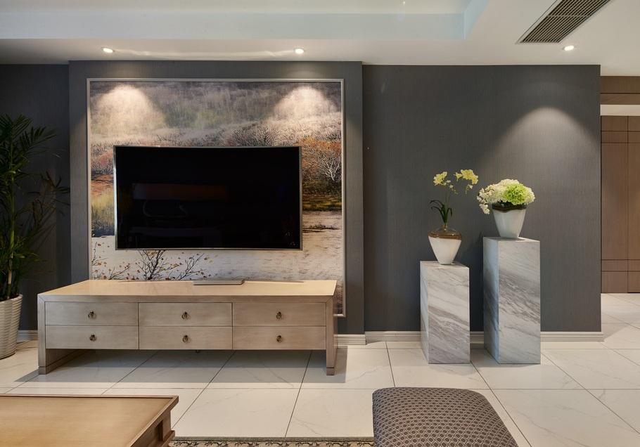 美式复古装修三居室客厅背景墙设计效果图片