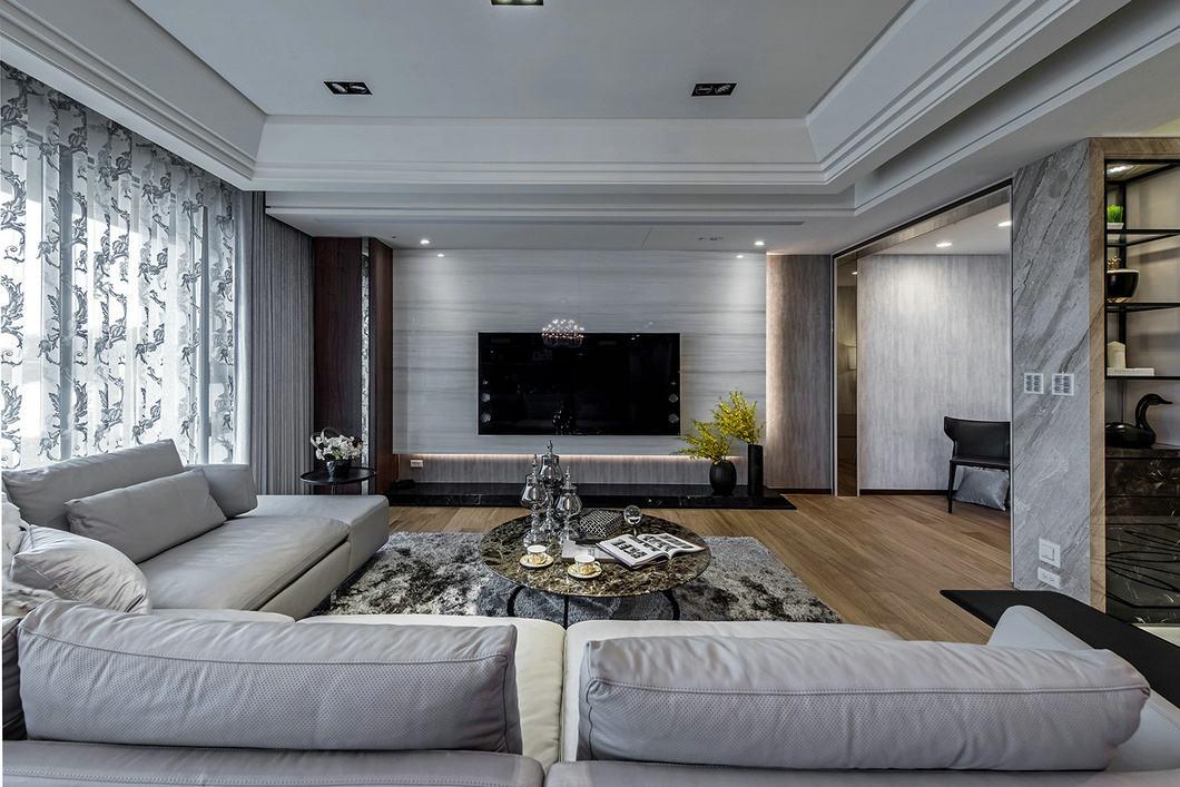 奢华简约后现代客厅电视背景墙效果图_装修百科