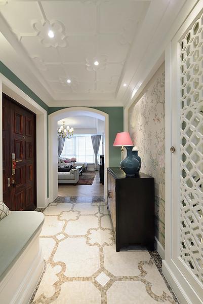 装修效果图 装修美图 花语美式玄关吊顶与背景墙装饰图