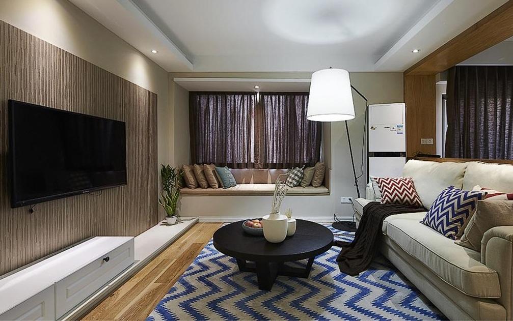 68平美式复古波普风混搭二居室效果图