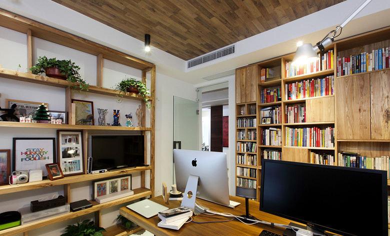 北欧风格室内书房实木吊顶装修设计效果图_装修百科