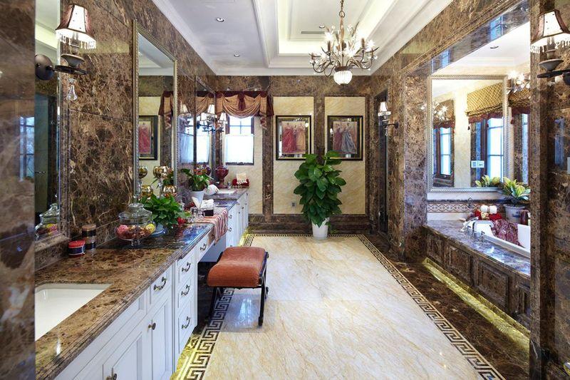 时尚豪华欧式风格别墅室内浴室设计装潢效果图_装修百科