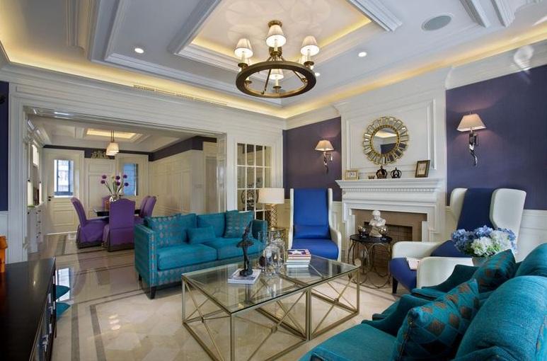 时尚撞色后现代风格客厅沙发背景墙效果图_装修百科