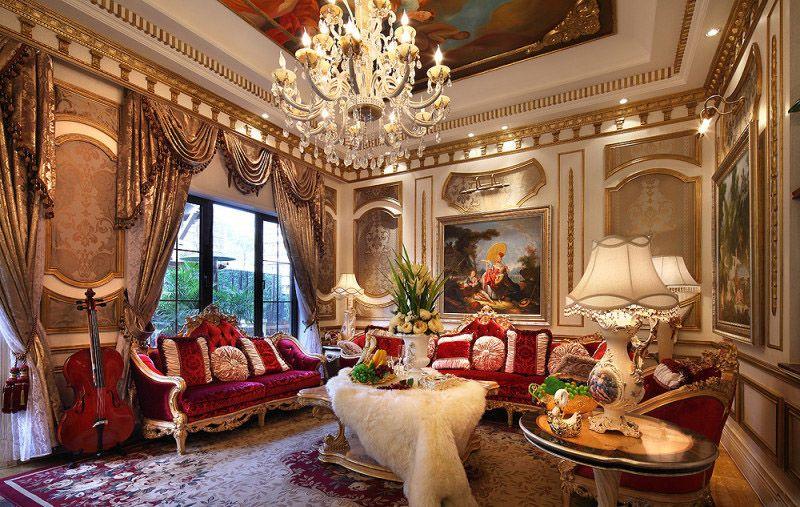 奢华欧式宫廷风格挑高客厅背景墙效果图_装修百科