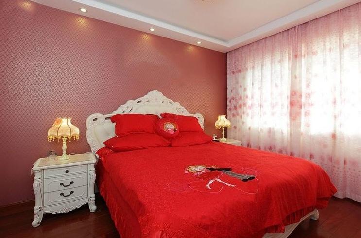 浪漫喜慶簡歐風格設計臥室婚房裝飾效果圖