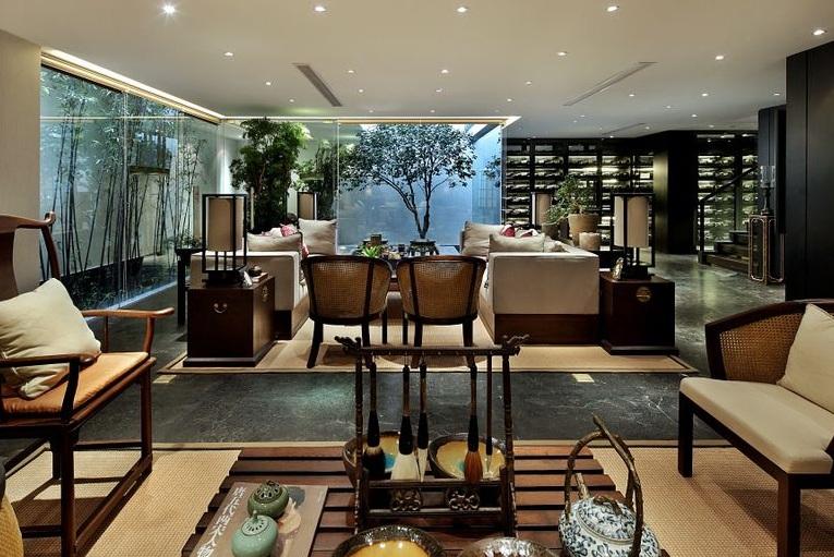 典雅中式茶室客厅一体效果图_装修百科