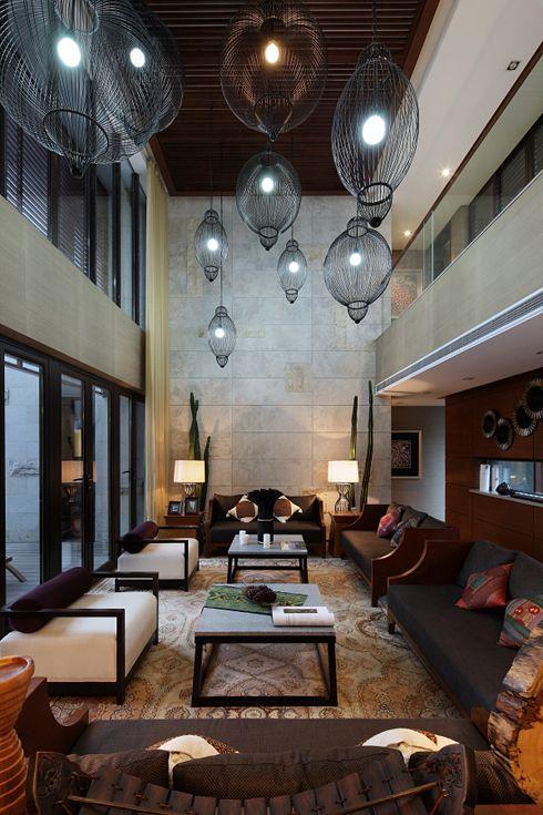 大气雅致中式复古风挑高客厅吊顶效果图_装修百科