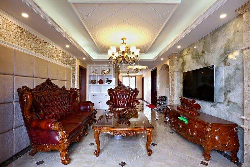 实木欧式现代混搭客厅背景墙效果图_装修百科