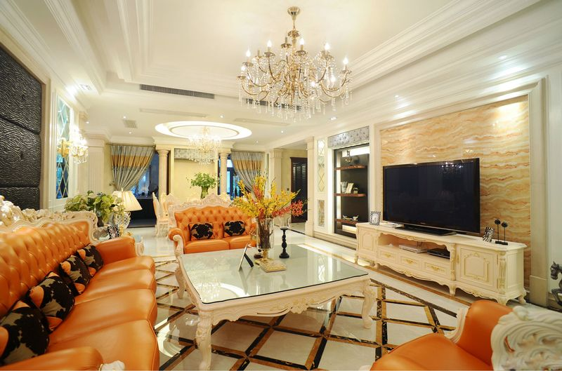 复古欧式混搭客厅电视背景墙效果图_装修百科