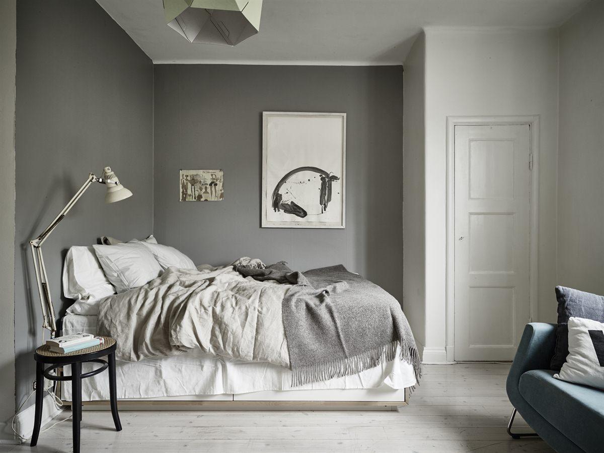 灰白设计现代北欧风卧室效果图_装修百科图片