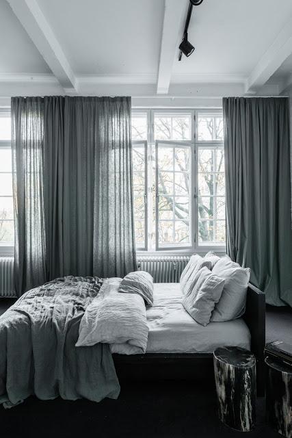黑白简尚北欧风格卧室窗帘效果图_装修百科