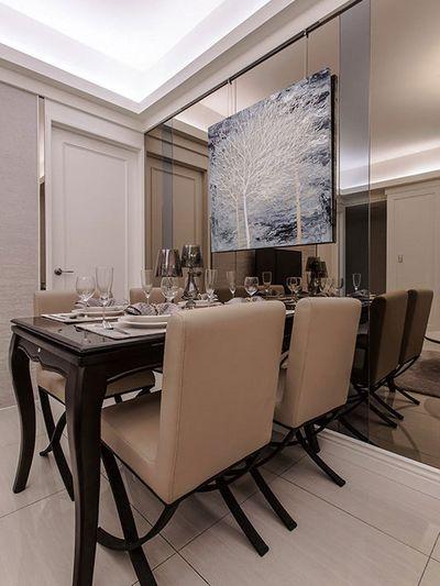 简欧低奢餐厅茶镜背景墙效果图_装修百科