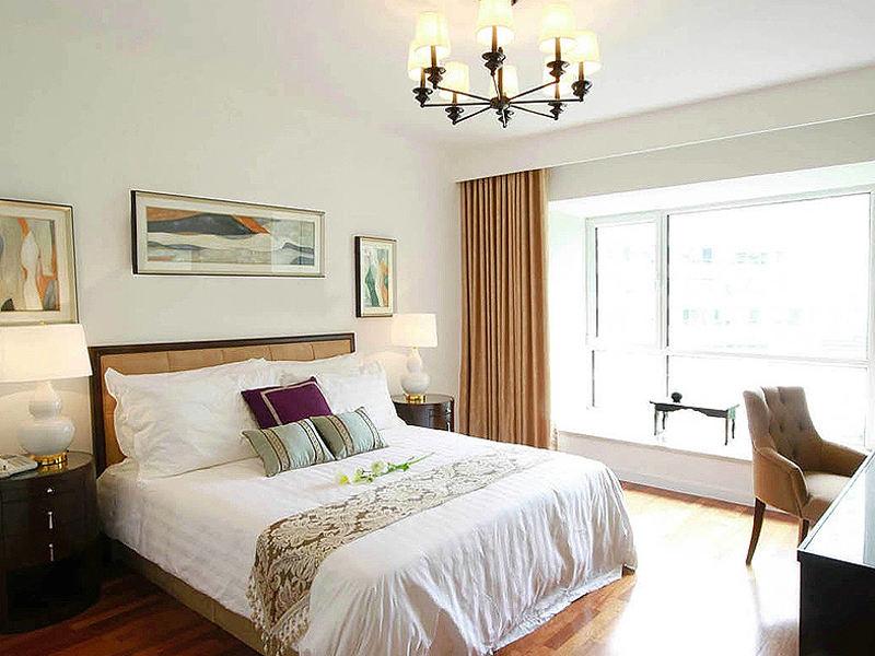 簡約溫馨新中式臥室背景墻效果圖