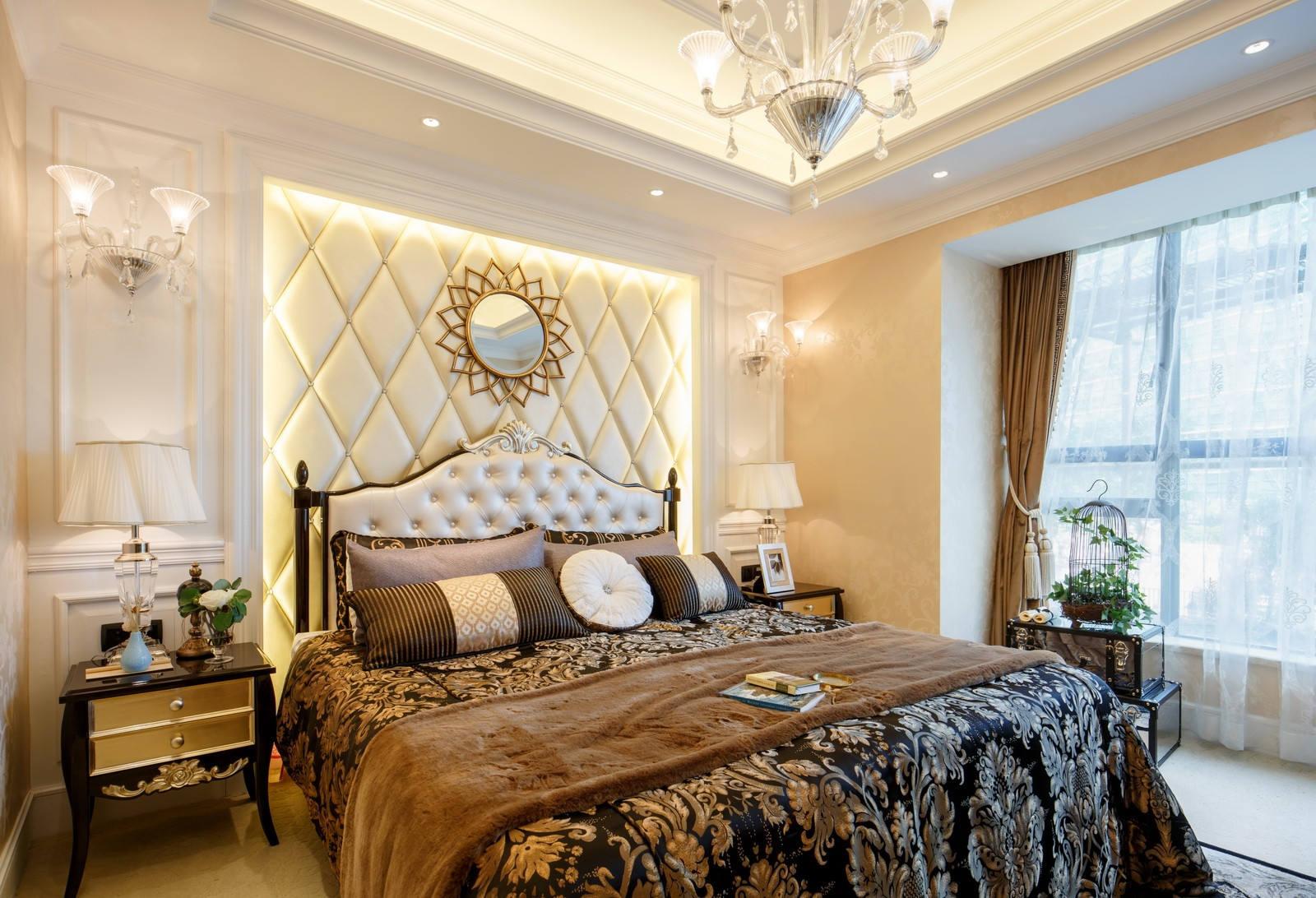 高贵典雅欧式卧室背景墙装潢效果图