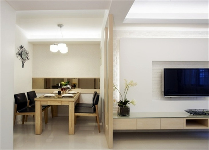 现代简约二居室客厅餐厅隔断装潢效果图-2017米色现代风格隔断餐厅