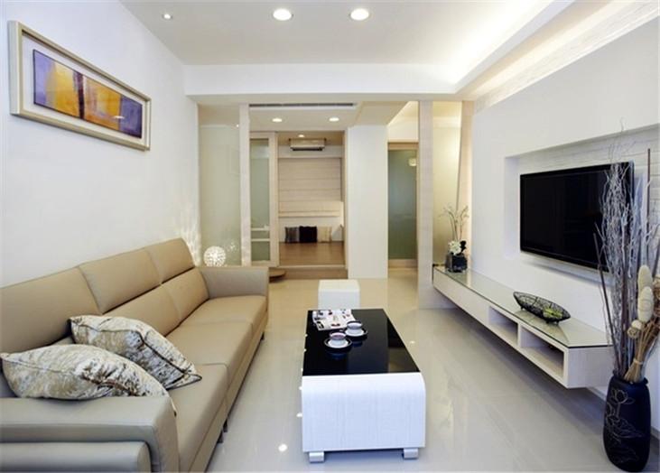 现代简约二居室客厅装潢效果图_装修百科