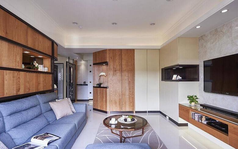 原木北欧现代混搭客厅沙发背景墙效果图_装修百科