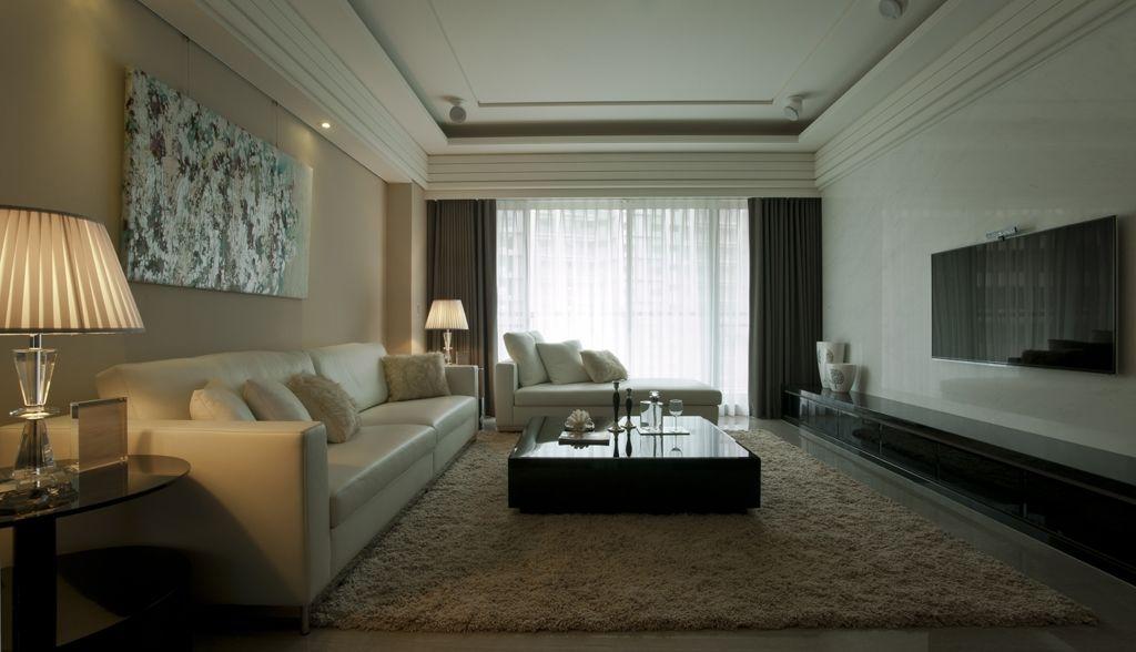 新古典風格客廳沙發電視背景墻裝修效果圖