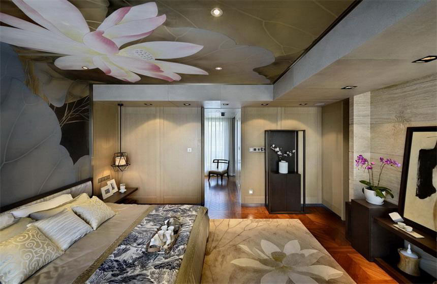 卧室荷花吊顶中式风格装修效果图_装修百科
