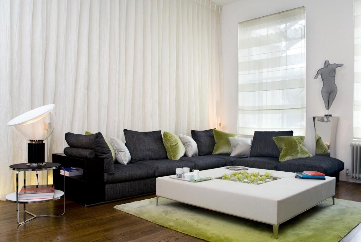現代簡約風格家裝客廳窗簾搭配效果圖片